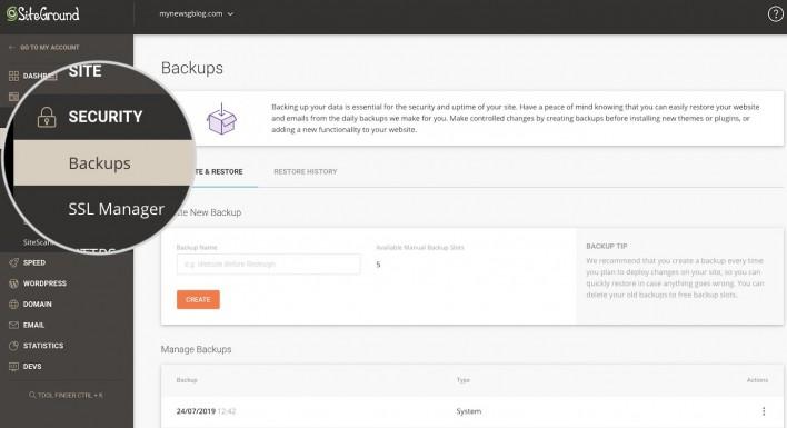 siteground backups